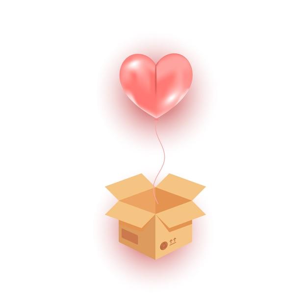 Открытая картонная коробка, летящий в воздухе розовый гелиевый шар, летящий в воздухе Premium векторы
