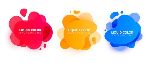 抽象的な現代的な液体要素のセット。 Premiumベクター