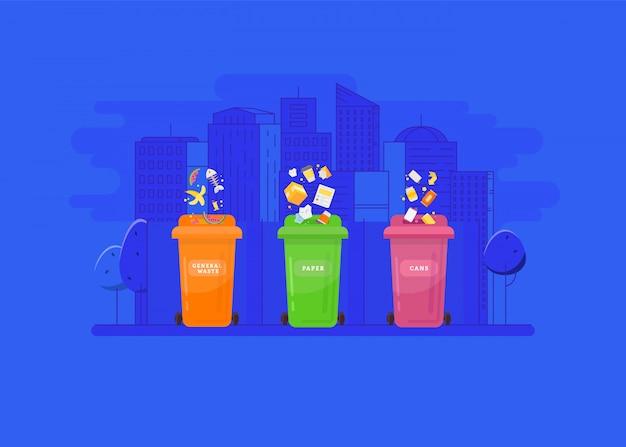 Концепция утилизации и утилизации мусора. Premium векторы