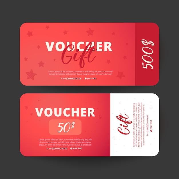 Ваучер шаблон. дизайн можно использовать для подарочного купона, ваучера, приглашения Premium векторы