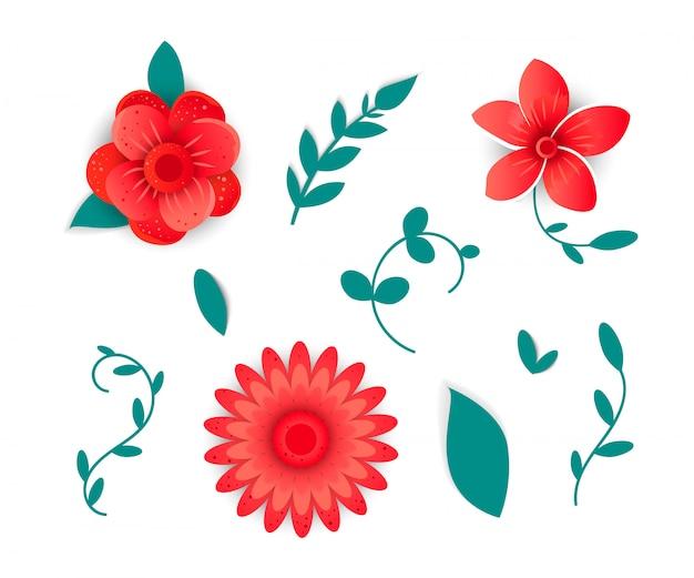 Бумага вырезанная в стиле яркого цветка Premium векторы