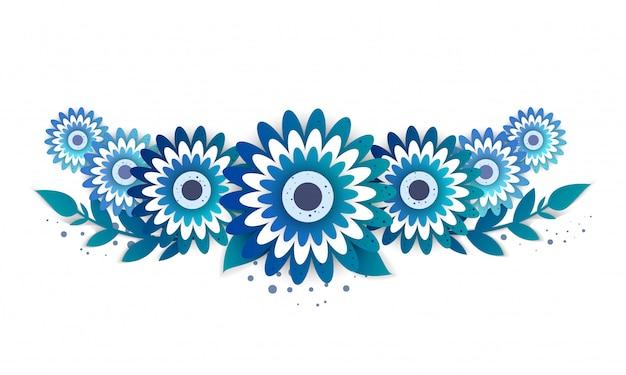 鮮やかな花の紙カット風 Premiumベクター