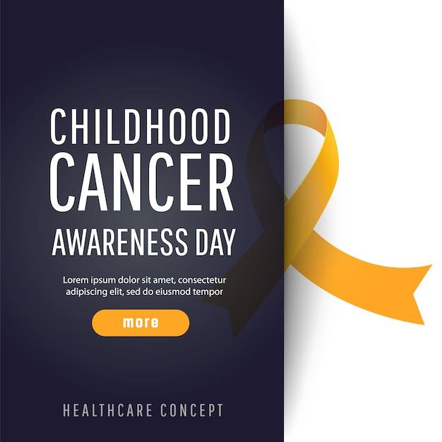 現実的な黄色の丸リボンと小児がん啓発日のためのバナー Premiumベクター