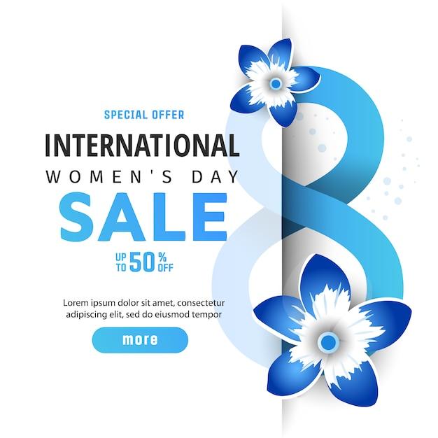 Международный женский день распродажи. Premium векторы