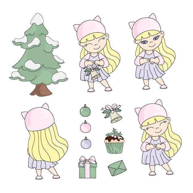 女の子クリスマスセット新年色イラスト Premiumベクター