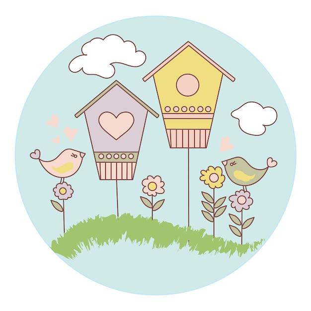 春の鳥漫画ベクトルイラストセット Premiumベクター