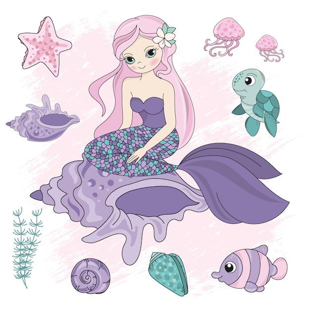 Королева русалка морской океан подводный Premium векторы