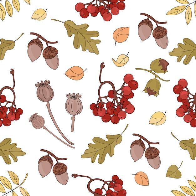 秋の森の要素のコレクション Premiumベクター