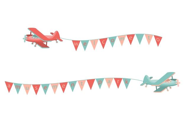 Иконка мультяшный самолет Premium векторы