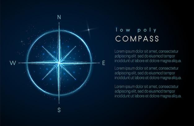 Абстрактный значок компаса. низкий поли стиль дизайна Premium векторы