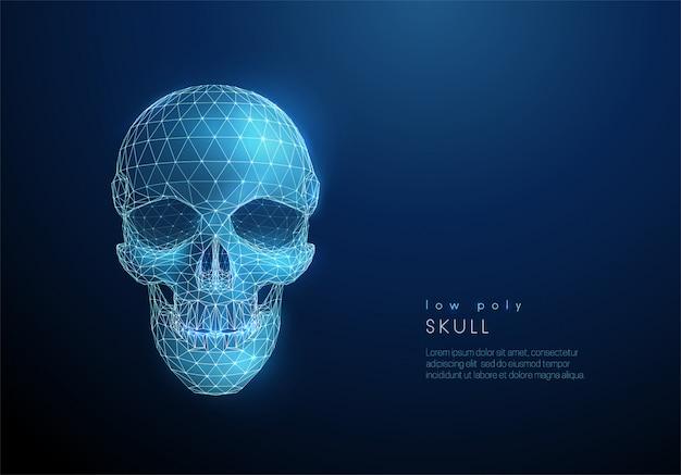 抽象的な人間の頭蓋骨。低ポリスタイル Premiumベクター