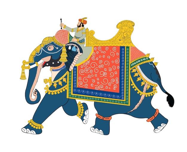 兵士が乗っている象のベクトル図 Premiumベクター
