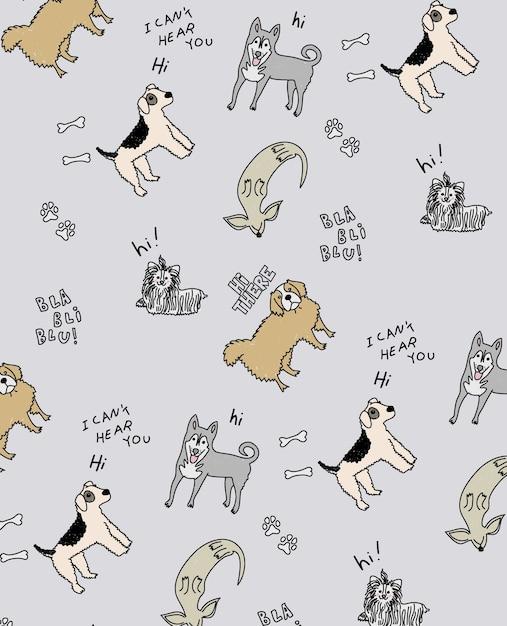手描きのかわいい犬のパターンデザイン Premiumベクター