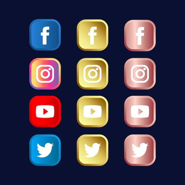 Набор иконок социальных медиа в градиентах золота и золотой розы Premium векторы