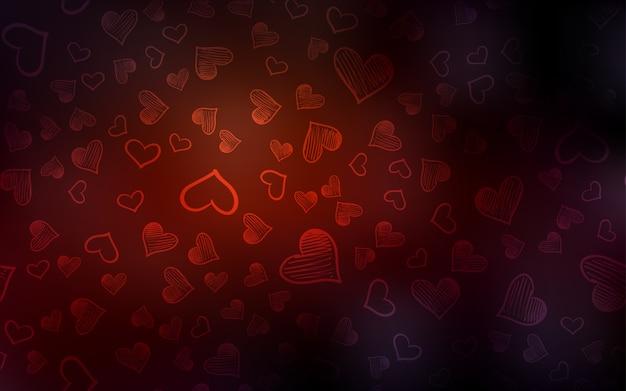 暗い赤のベクトルカバーと輝く心 Premiumベクター