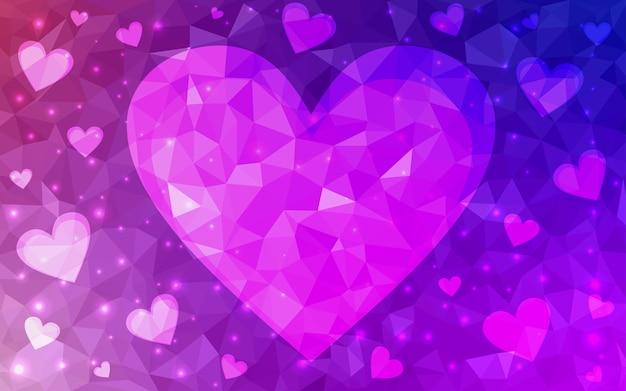 ピンクのベクトル愛の背景と心 Premiumベクター