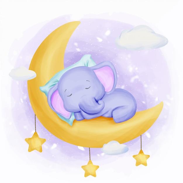Слоненок спать на луне Premium векторы