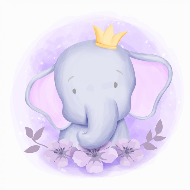 Маленький слоненок симпатичный портрет акварель Premium векторы