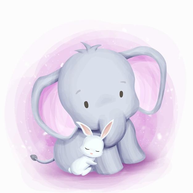 Дружба слон и кролик Premium векторы