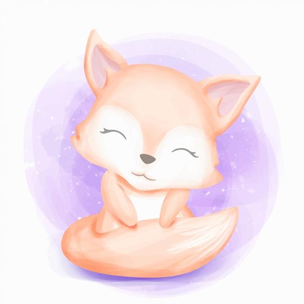 かわいい赤ちゃんキツネに座ると笑顔 Premiumベクター