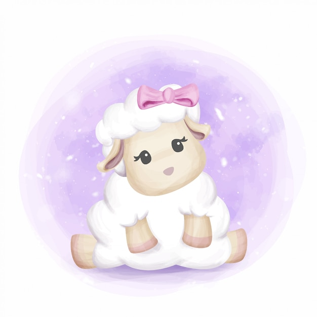 愛らしいかわいい赤ちゃん羊の女の子 Premiumベクター