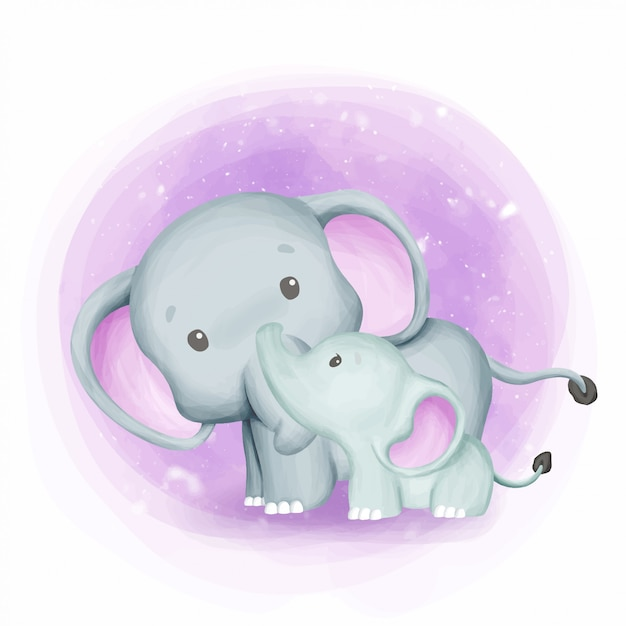 Мать слоненок с милым ребенком Premium векторы