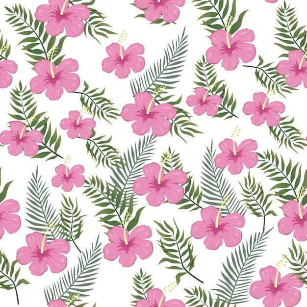 熱帯の雰囲気のアロハ夏シームレス花柄 Premiumベクター
