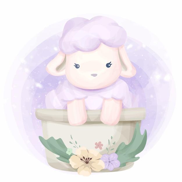 かわいい動物の小さな羊のイラスト Premiumベクター