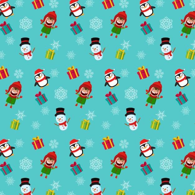 シームレスなクリスマスのパターン。男の子の雪だるまとペンギン Premiumベクター