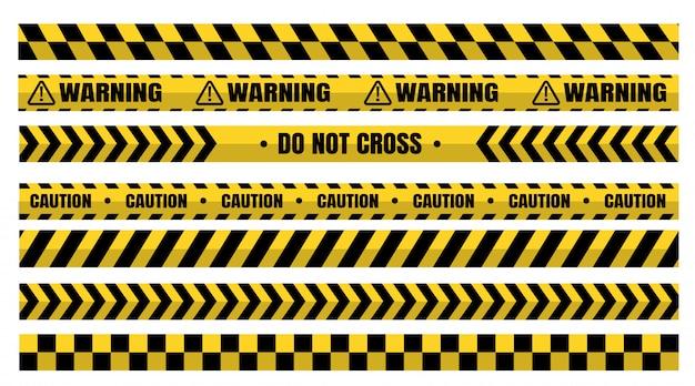 危険な警告テープは、建設や犯罪に注意する必要があります。 Premiumベクター