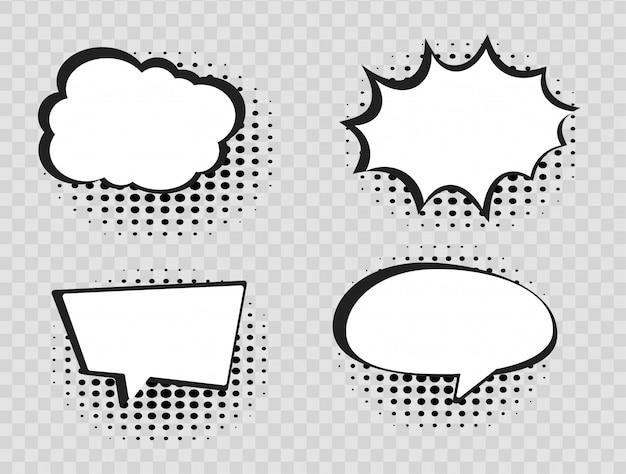 Комические речи пузыри на прозрачном фоне полутонов. Premium векторы