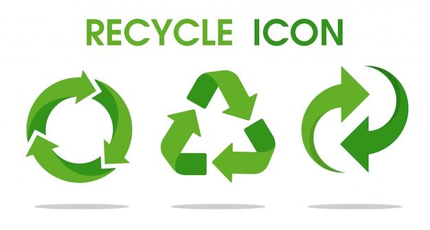 リサイクル矢印記号リサイクルされた資源を使用することを意味します。 Premiumベクター