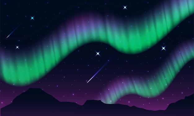 オーロラ、極座標、ノーザンライトまたは南ライトは自然光表示です Premiumベクター