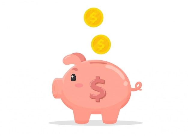 Свинья в форме копилки, которая собирает много денег. Premium векторы