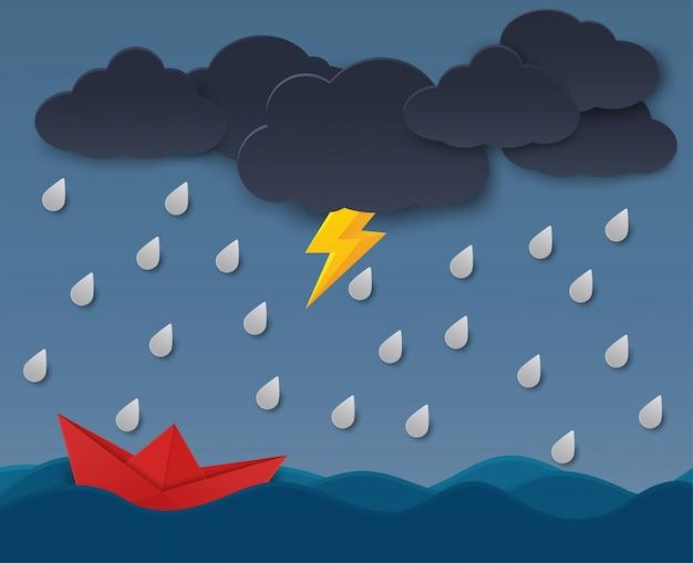 Концепция бумажных кораблей сталкивается с препятствиями от дождевых облаков. Premium векторы
