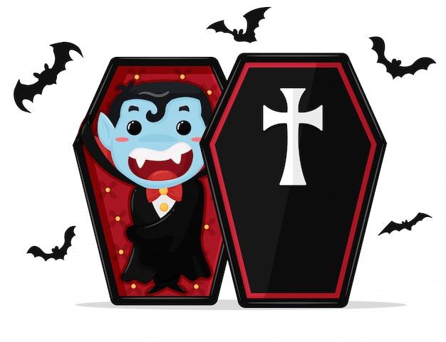 Милый мультфильм мальчик в костюме дракулы наслаждается вечеринкой на хэллоуин. Premium векторы