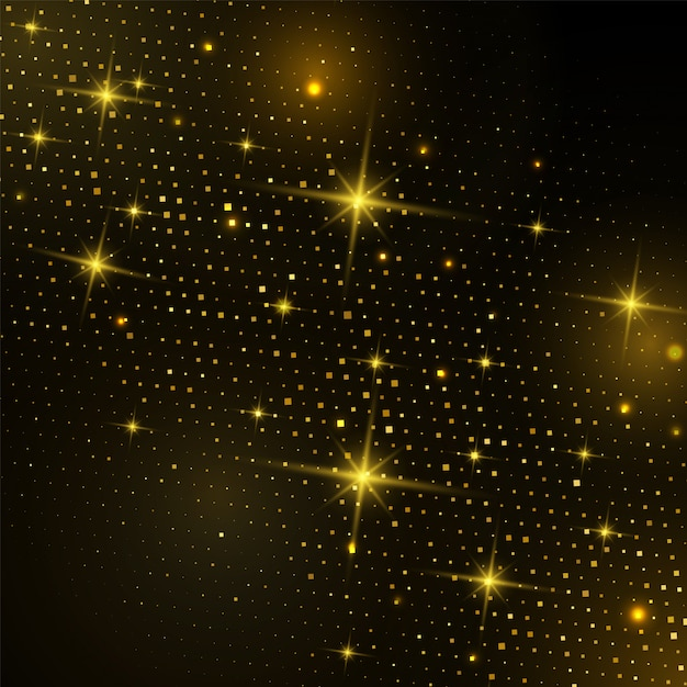 Абстрактный золотой квадрат полутонов с блестящим светом на черном Premium векторы
