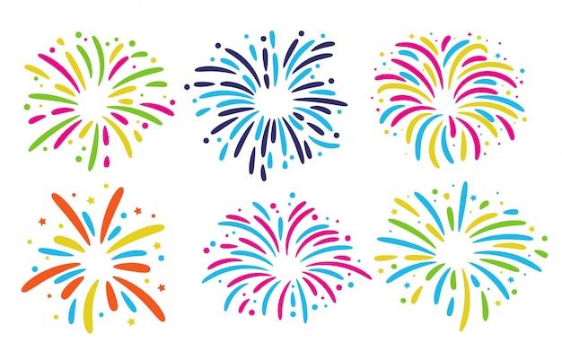 Фейерверк напольная коллекция. красочный фейерверк для торжеств в новогоднем празднике. Premium векторы
