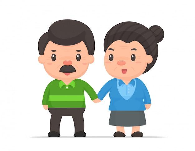 Мультфильм старые люди вектор. старая пара, которая счастливо живет после выхода на пенсию. Premium векторы