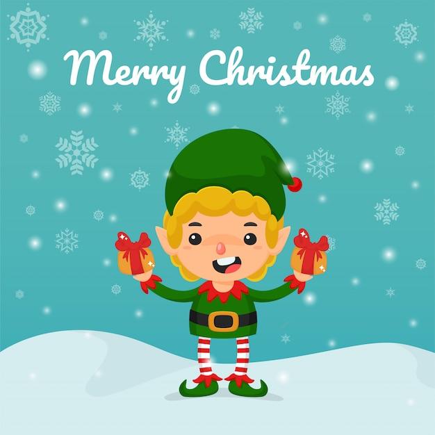 クリスマス漫画のベクトル。クリスマスに子供たちを配るエルフとギフトボックスを手に。 Premiumベクター