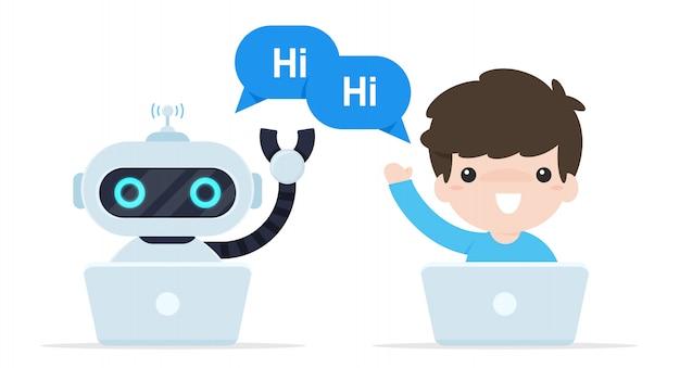 Бот чат скажи привет. роботы, которые запрограммированы для общения с клиентами онлайн. Premium векторы