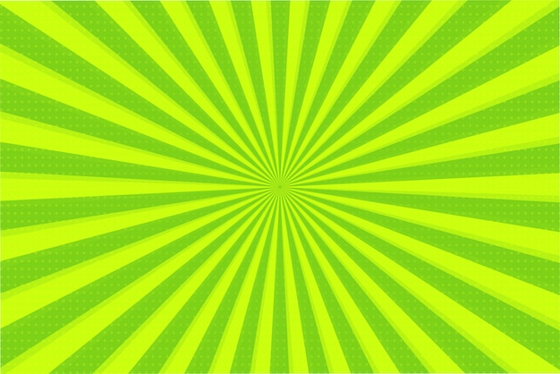 Абстрактный фон из зеленых и желтых лучей Premium векторы