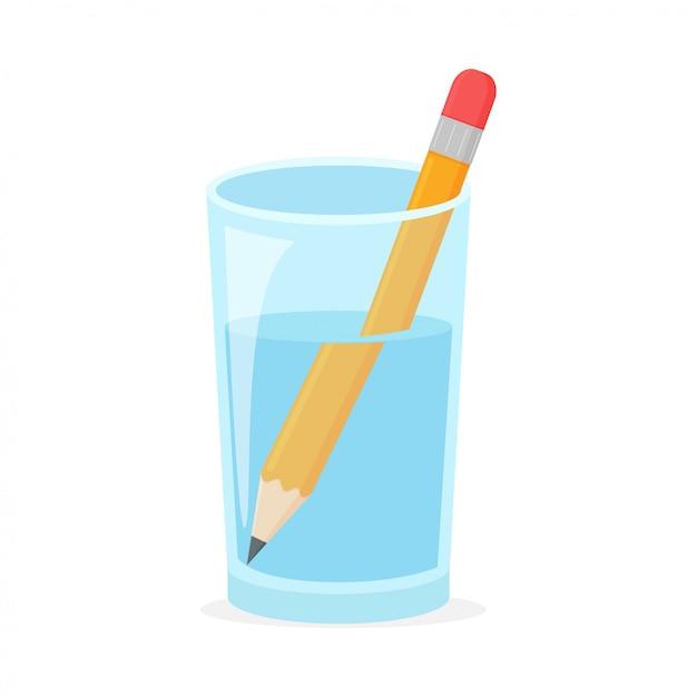 Концепция преломления с деревянным карандашом в стакане воды Premium векторы