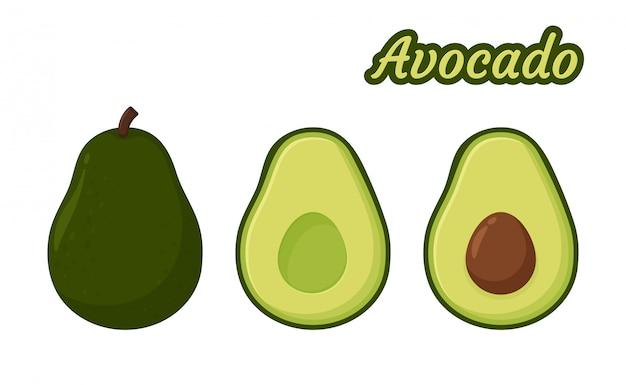 アボカドベクトル。健康的な果物のアボカド種が中に見えるまで半分に切りました。 Premiumベクター