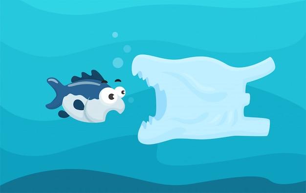 海洋生物に有害な海のビニール袋。 Premiumベクター