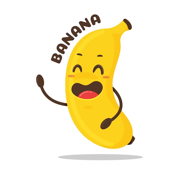 Банановый мультфильм. желтый банановый плод смеется счастливо. Premium векторы