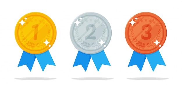 Медаль золотые, серебряные и бронзовые медали - приз победителя спортивного мероприятия. Premium векторы