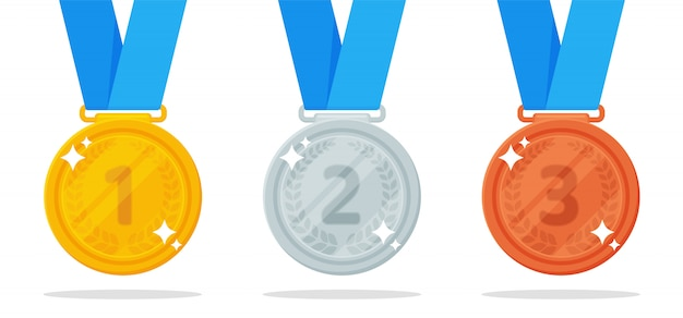 Медаль вектор. золотые, серебряные и бронзовые медали - приз победителя спортивного мероприятия. Premium векторы