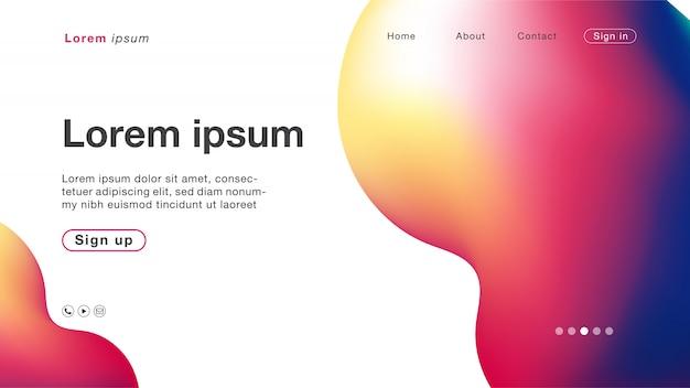 ホームページの背景抽象ホログラムグラデーション曲線 Premiumベクター