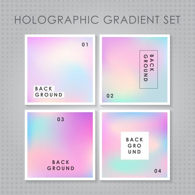 ホログラフィックグラジエントセット Premiumベクター